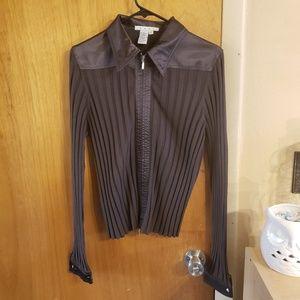 Cabi silk blend zip front collared cardigan